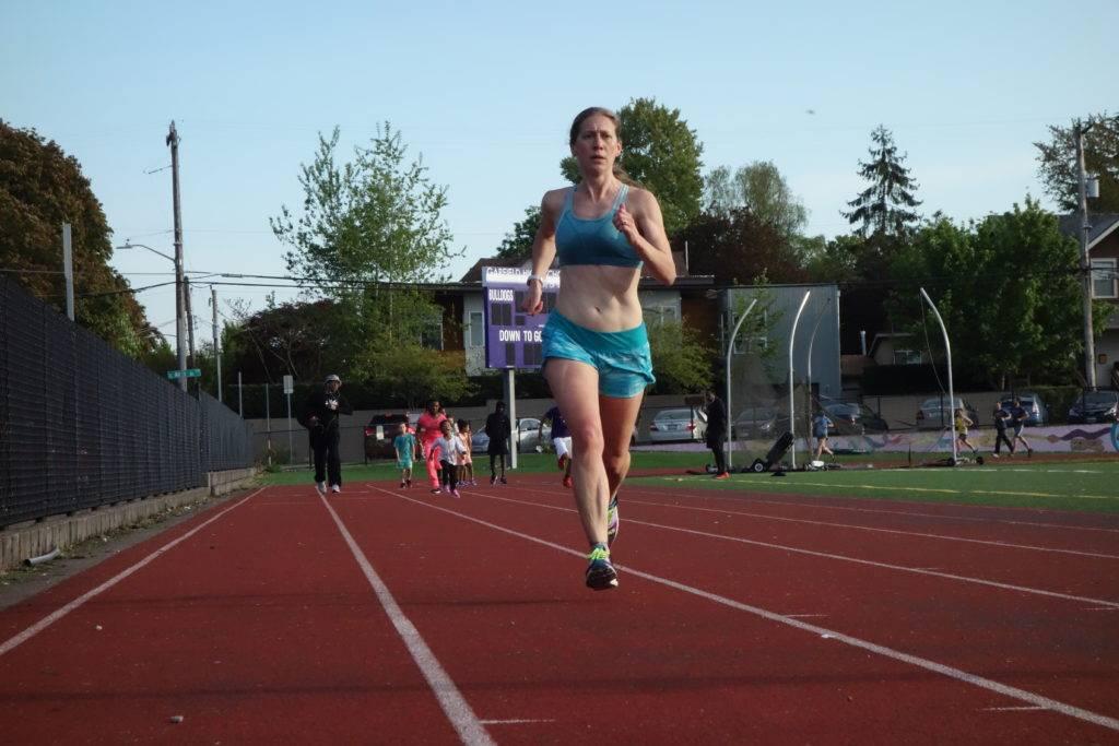 Trisha Steidl striding out on the backstretch.