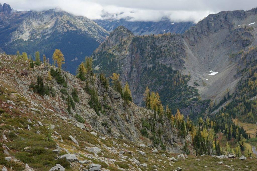A larch-loaded ridgeline above Rainy Lake