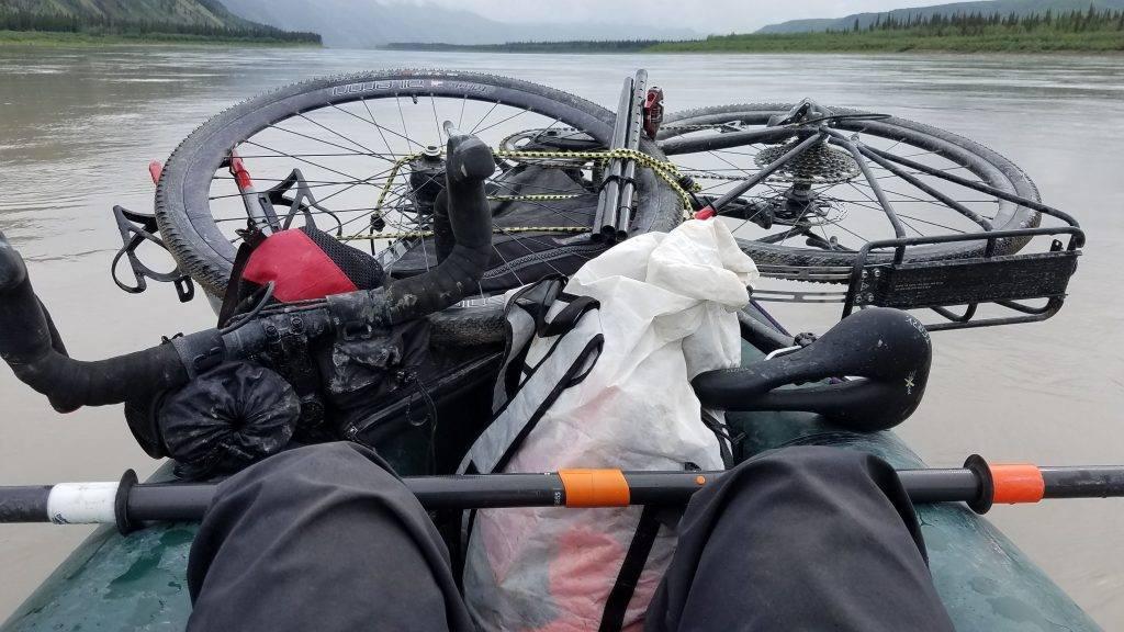 Jessica's bike loaded on her boat.