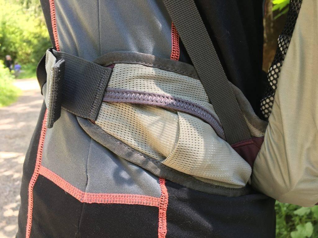 The B-Line has a handy pocket built into the waist strap.