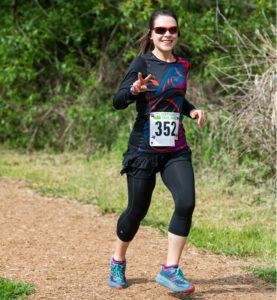 Anna Gullickson running in a Northwest Trail Runs event.